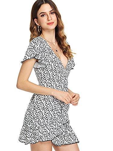 A Flare White Waist Line High Polka Floerns Casual Dot V Neck Women's Dress RUzxHwqp