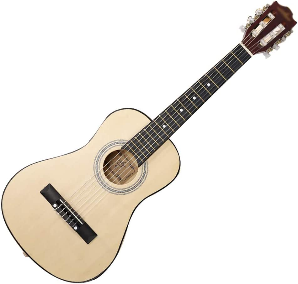 ZZRS Pequeño Cuerpo sólido Tapa de la Guitarra acústica, Guitarra de Madera Natural, Completo Kit de Principiante Starter Pack, for los niños/Niños (Color : Wood, Size : 34Inch)