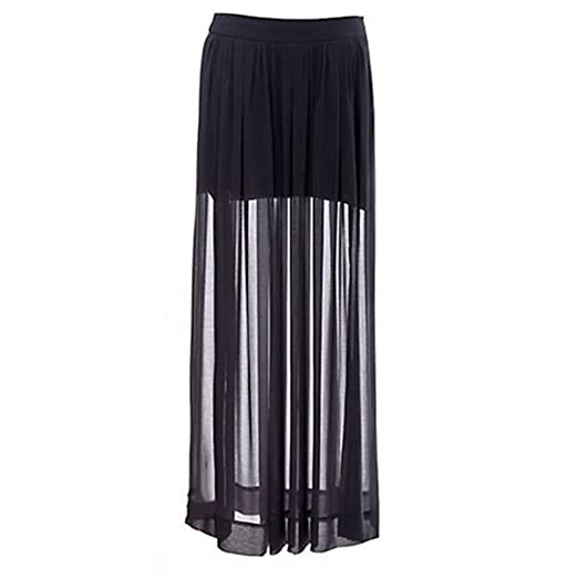 9539f69154 Image Unavailable. Image not available for. Color: Polytree Women's Sheer  Side Split Chiffon Long Skirt Black