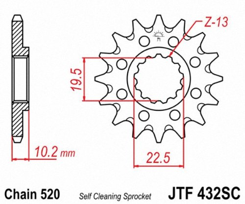 JT Sprockets JTF432.15SC 15T Steel Front Sprocket