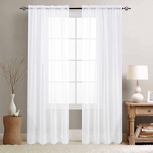 jinchan Sheer Curtains White 90 Inches Length Window Curtain Set for Living Room Drapes Textured Voile Rod Pocket Sheer Window Panels for Bedroom 2 Panels (Sheers Window Panels)