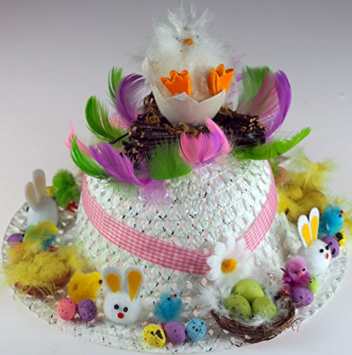 Girls Ready Made Decorated Easter Bonnet Hat - White Chick In Twig Nest