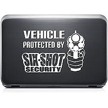 Warning Gun Pistol Six Shot REMOVABLE Vinyl Decal Sticker For Laptop Tablet Helmet Windows Wall Decor Car Truck Motorcycle - Size (15 Inch / 38 Cm Wide) - Color (Matte Black)