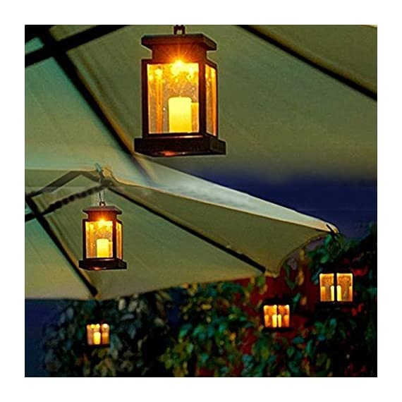 "AMEI Solar Lantern, Solar LED Deck Light, Outdoor Hanging Solar Garden Light, Patio Lanterns, Yard Decorations,Hanging… - Small & Portable - 3.5"" x 3.5"" x 4.9"", with a metal clamp and ring, you can change lighting place to yard garden lawn patio umbrella outdoor anywhere you can hang. Energy-Saving & Auto On-OFF - Powered by solar, you just need take this led lantern under direct sunshine 4-6 hours, the included rechargeable battery will storage plenty of energy to light dusk to dawn with Auto on-off. No added electricity fee or battery cost. High Quality Made, long service life, no UV or IR, environmental friendly.4 to 5 hours of sunlight at day time provides 6 to 9 hours brightness at night. - patio, outdoor-lights, outdoor-decor - 51deyFEuPdL. SS570  -"