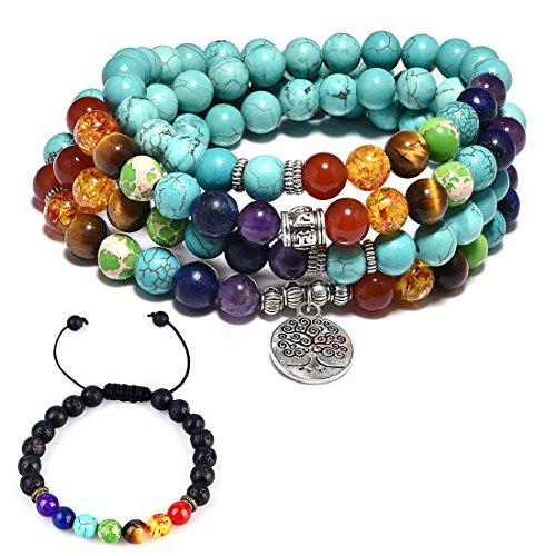 CAT EYE JEWELS 8mm Turquoise 108 Buddhist Prayer Beads 7 Chakra Meditation Mala Bracelet Necklace ()