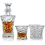 Premium Whiskey Decanter & Glasses Gift Set of 5   Scotch, Bourbon, Irish Whisky, Brandy, Liqueur   Dishwasher Safe Ultra Clarity 22 Fl Oz (650ml) Decanter
