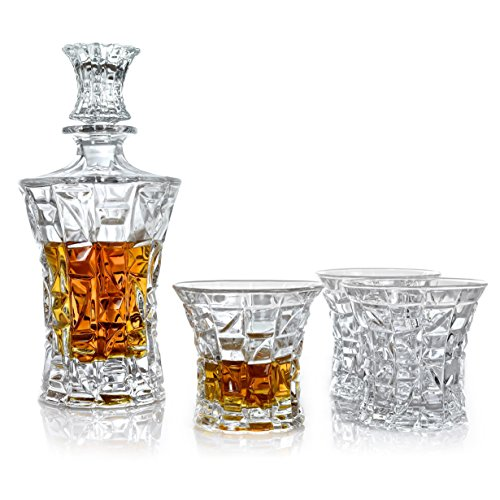 Irish Liqueur (Premium Whiskey Decanter & Glasses Gift Set of 5 | Scotch, Bourbon, Irish Whisky, Brandy, Liqueur | Dishwasher Safe Ultra Clarity 22 Fl Oz (650ml) Decanter)