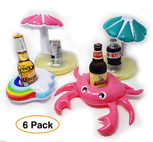 - Pro Image Lines Inflatable Pool Drink Cup Holders, (6 pack) Floating Coasters 4 different designs Crab, Rainbow, Mushroom, Great for pool lake hot tub