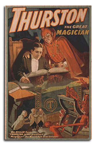(Lantern Press Thurston The Great Magician with Devil Magic - Vintage Theater Advertisement (10x15 Wood Wall Sign, Wall Decor Ready to Hang))