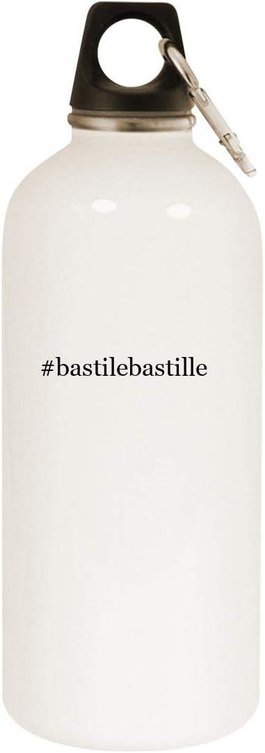 #bastilebastille - 20oz Hashtag Stainless Steel White Water Bottle with Carabiner, White