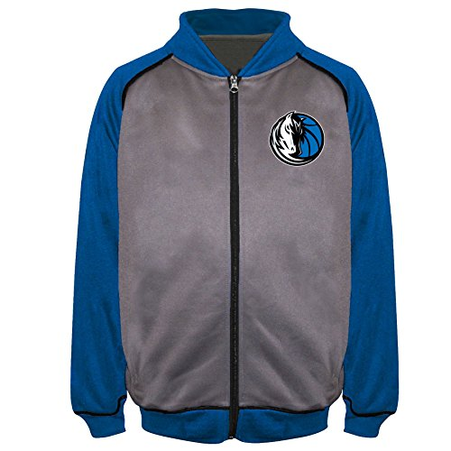 NBA Dallas Mavericks Poly Fleece Raglan Track Jacket, Char/Royal, 3X/Tall - Nba Lightweight Jackets