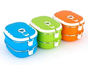Eco-Friendly Stainless Steel Food Warmer School Picnic Storage Box Fruit Box Lunch Box Tableware Food Container for Kids Adults(Blue 2 Layer)