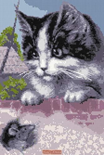 Kit de punto de cruz para gato y ratón (v2): Amazon.es: Hogar
