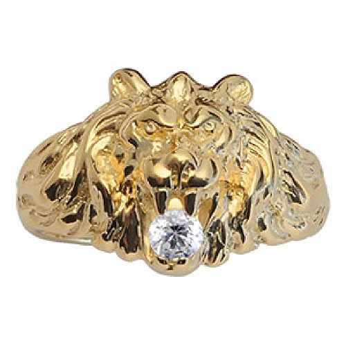 So Chic Jewels - Vermeil - Silver Gilt (18k Gold over 925 Sterling Silver) Mens Big Size Lion Design White Cubic Zirconia Signet Ring - Size 11.5