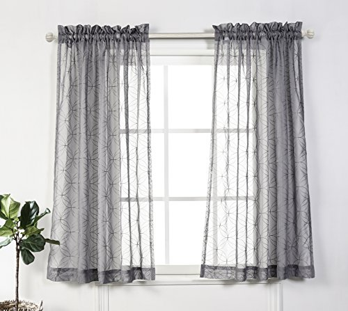 MYSKY HOME Rod Pocket Sheer Curtains for Bedroom by, Embroidery Voile Short Curtain Panels for Living Room, (Grey, 52