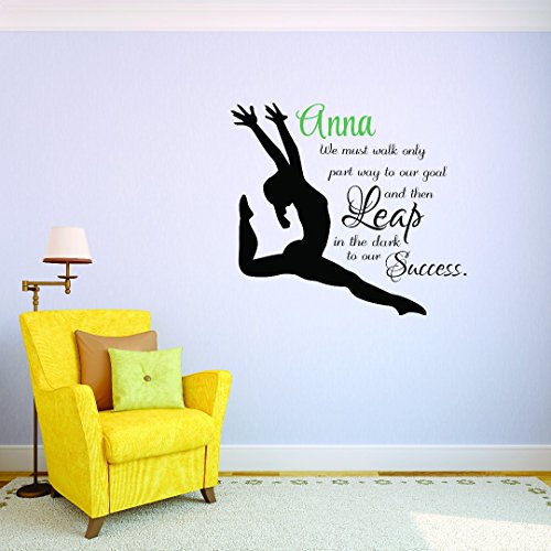 Gymnastics Decals - PERSONALIZED Custom Name Gymnastics Quote Leaping Girl Sports Team Teen Bedroom Kids Sticker Vinyl Wall Decal 10 Inches x 20 Inches