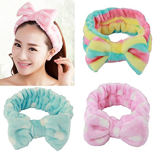 Fleece Headband (Fani 3 Pieces Women/Girls Fashion Lovely/Cute Soft Carol Fleece Bowknot Bow Makeup Cosmetic Shower Elastic Hair Band Hairlace Headband 3 Colors Available (pink, blue and rainbow color))