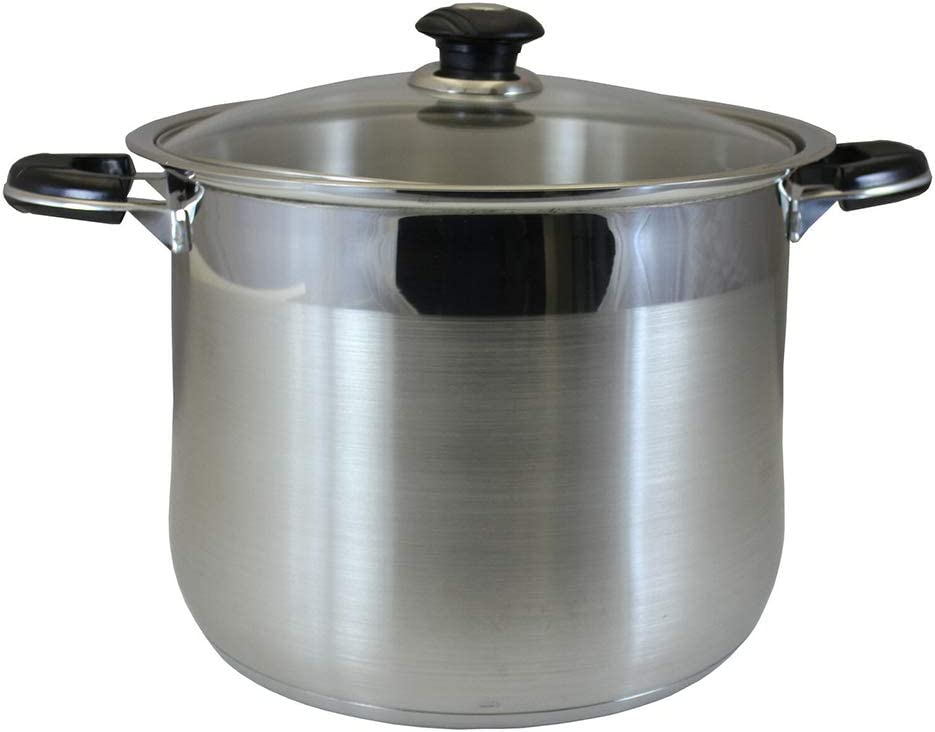 """Thaweesuk Shop 30 QT Stainless Steel Stock Pot Cookware. Tri-Ply Bottom Dutch Oven 14.8"""" Wide x 12"""" Height of Set"""