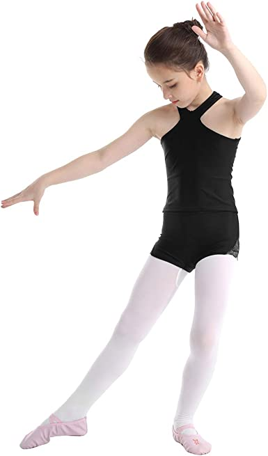 Girls Gymnastics Ballet Jumpsuit Kids Dance Sports Crop Top+Shorts Leotards Set