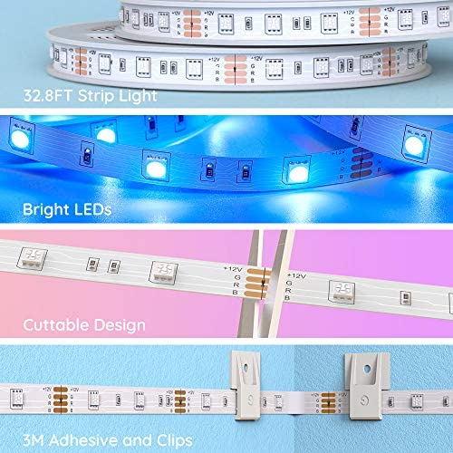 Govee Led Strip Lights 32.8 Feet, for Bedroom, App Control, Works with Alexa Google Assistant