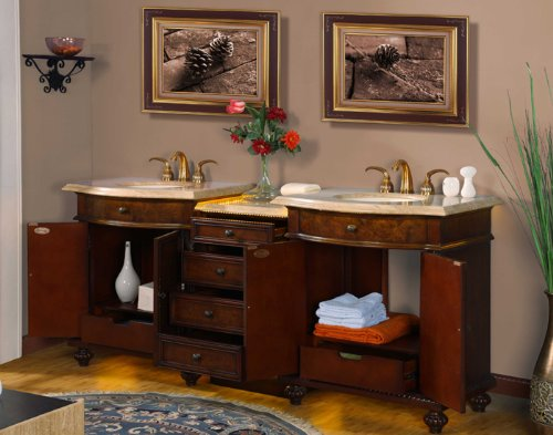 84'' Bathroom Furniture LED Lighted Travertine Top Double Sink Vanity Cabinet 193TL