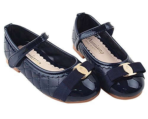 Milky Walk Stitch & Ribbon Girl's Mary Jane Flat Shoes (Toddler/Little Kid) (12 M US Little Kid, Navy)