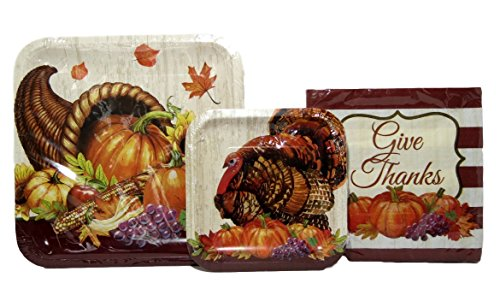 Large Thanksgiving Plates and Napkins Set , Serves 10, Horn of Plenty and Turkey Paper Plates with Give Thanks Napkins (Horn Plenty)