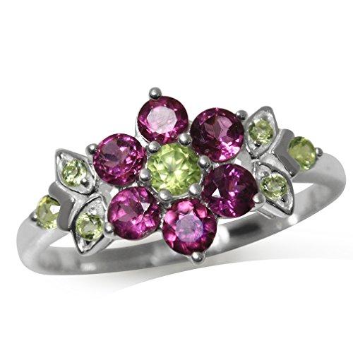 Sterling Silver Garnet Flower Ring (Natural Rhodolite Garnet & Peridot 925 Sterling Silver Flower & Leaf Ring Size 8)