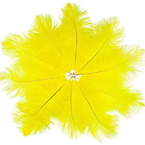 UNEEDE 24 Pcs Natural Feather Ostrich Yellow Feathers for DIY Craft, Party, Wedding, Dream Catcher, Christmas Home Party Decorations
