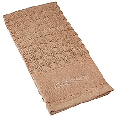 Cuisinart 100% Cotton Terry Super Absorbent Kitchen Towel, Checkered, Tan Beige