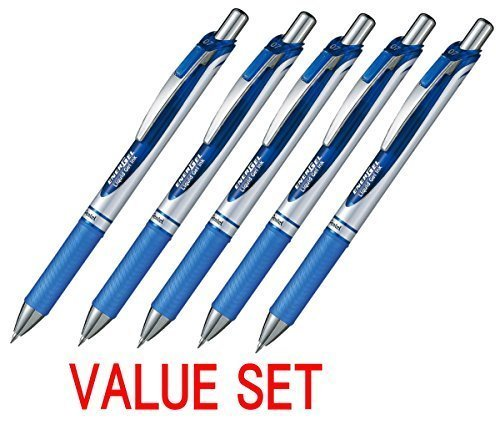 Pentel EnerGel Deluxe RTX Retractable Liquid Gel Pen,0.7mm, Fine Line, Metal Tip, Blue Ink-Value set of 5 (With Our Shop Original Product Description) (Retractable Blue Pen Pentel)