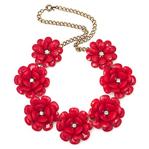 Charmed Craft Red Flower Bib Chunky Party Statement Collar Necklaces - Necklace Red Chunky
