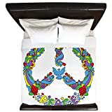 King Duvet Cover Pop Art Peace Symbol Flowers Stars