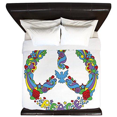 King Duvet Cover Pop Art Peace Symbol Flowers Stars by Royal Lion