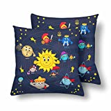 InterestPrint Cartoon Solar System Sun Earth Pillowcase Throw Pillow Covers 18x18 Set of 2, Pillow Sham Cases Protector for Home Couch Sofa Bedding Decorative