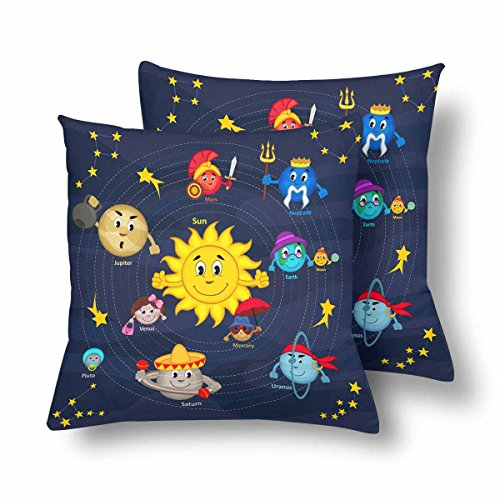 InterestPrint Cartoon Solar System Sun Earth Pillowcase Throw Pillow Covers 18x18 Set of 2, Pillow Sham Cases Protector for Home Couch Sofa Bedding Decorative by InterestPrint