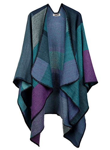 DJT Womens Plaid Pattern Poncho