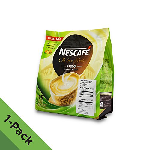 Nescafé Ipoh White Coffee HAZELNUT (15 Sachets) - 'Oh So Nutty' ★ Flavored Premix Instant Coffee ★ Deliciously Milky with Creamy Nuttiness & Irresistible Hazelnut Aroma ★ Just Mix with Water, No Need of Sugar and Creamer ★ Made from Quality Beans ★ From Nestlé Malaysia