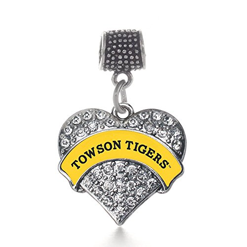 Inspired Silver Towson University Tigers Pave Heart Memory Charm Fits Pandora Bracelets & Compatible with Most Major Brands such as Chamilia, Murano, Troll, Biagi and other European - Fit Towson