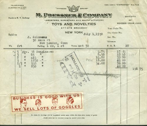 M Pressner Toys & Novelties NYC invoice 1930 sunglasses We Sell Lots of - Sunglasses 1930