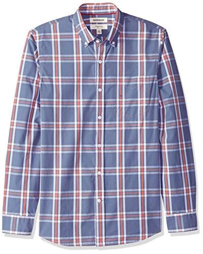 Multi Plaid Shirt - Goodthreads Men's Slim-Fit Long-Sleeve Plaid Poplin Shirt, -denim multi plaid, Large