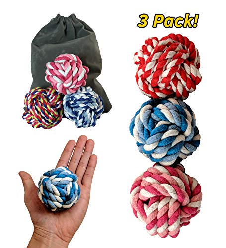 PetToys Rope Ball Dog Toy (3-Pack) Colorful and Interactive | Training, Fetch, Tug of War Play | Pure Cotton Fibers Clean Teeth and Gums