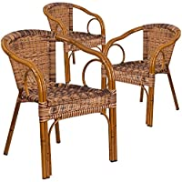 Flash Furniture 3 Pk. Cadiz Series Burning Brown Rattan Restaurant Patio Chair with Dark Red Bamboo-Aluminum Frame