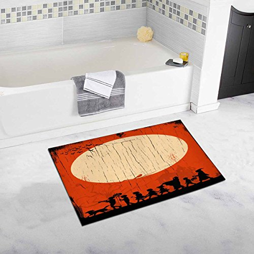 INTERESTPRINT Children Going Trick Or Treating on Halloween on A Wooden Board Plush Bathroom Decor Rug Mat with Non Slip Rubber Backing, 32 L X 20 W Inches