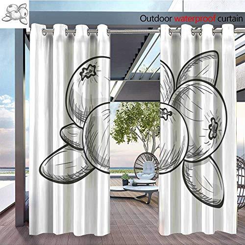 QianHe Fashions Drape Monochrome-Sketch-Cranberry.jpg Outdoor Curtain Waterproof Rustproof Grommet Drape W108 x L108(274cmx274cm) -