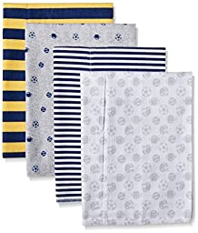 Gerber Baby Boys\' 4 Pack Flannel Burp Cloths, Sports Blue, One Size