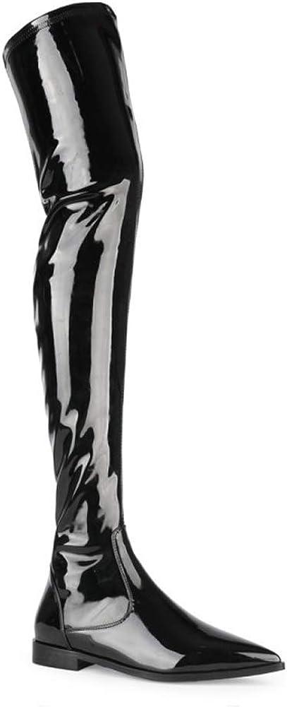 Bottines pour femme, au dessus du genou, chaussures plates en cuir verni, pointues à talons bas, fermeture éclair latérale, noir pour femme mode confortable Noir