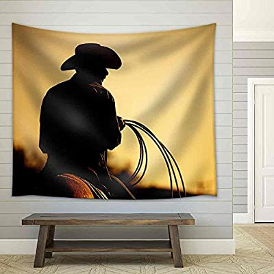 Handsome Work of Art, That You Will Love, Cowboy with Lasso Silhouette at Small Town Rodeo Note: Added Grain Fabric Wall