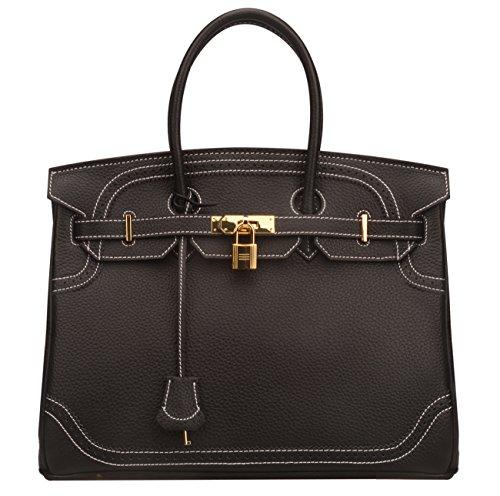 lock Genuine Leather Purses With Lace Trim (35 cm, White stitched-black) (Black Stitched Handbag)