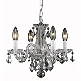 Elegant Lighting 7804D15C/RC Rococo Collection 4-Light Hanging Fixture with Royal Cut Crystal Clear, Chrome Finish For Sale